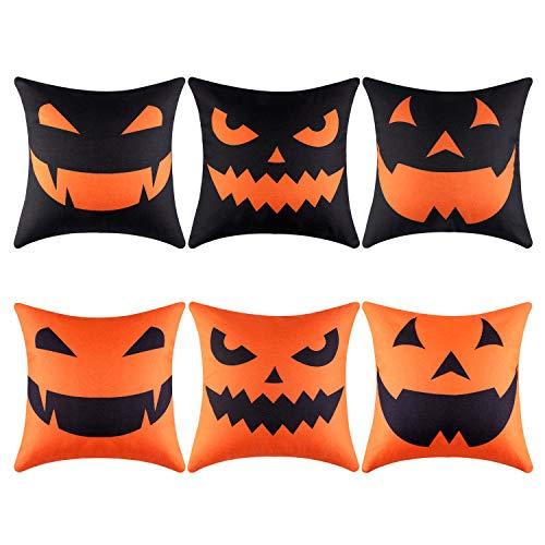Aneco 6 Pieces Halloween Throw Pillow Covers Pumpkin Smiley Face Pillowcases Decoration Cushion Cover for Halloween Thanksgiving Decoration, 18 x 18 Inches