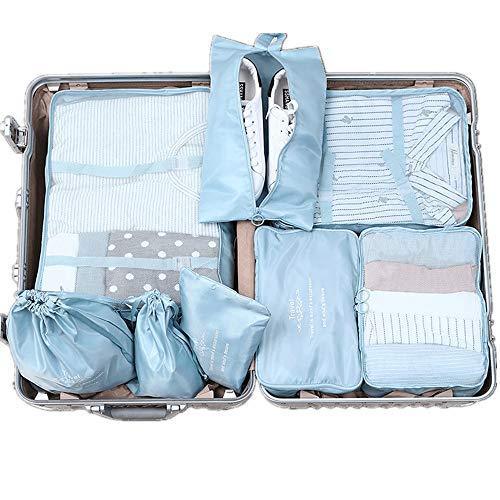 Cubos de Embalaje de Viaje Conjunto De 8pcs equipaje Organizador bolsos impermeables del almacenaje de la ropa Cubos de viajes organizadores de compresión de equipaje Almacenaje del Recorrido del Bols