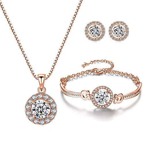 YooAi Jewellery Set Round Pendant Necklace Earrings and Bracelet Set Cubic Zirconia Jewellery for Women Round Rose Gold