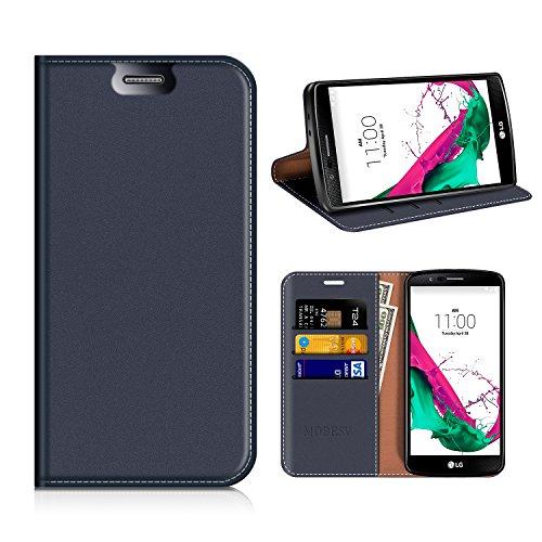 MOBESV LG G4 Hülle Leder, LG G4 Tasche Lederhülle/Wallet Hülle/Ledertasche Handyhülle/Schutzhülle mit Kartenfach für LG G4 - Dunkel Blau