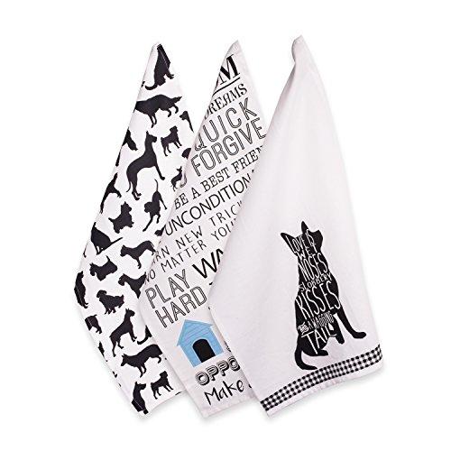 DII - Toalla de cocina y platos 100% algodón, uso diario, Toalla, Dog Prints (3), Dishtowel - 18 x 28', 1
