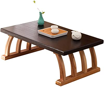 Coffee Tables Square Solid Wood Tatami Table Bay Window Small Tea Table Household Simple Solid Wood Table (Color : Brown, Size : 60 * 40 * 30cm)