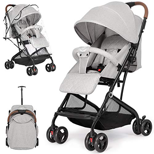 Birtech Stroller Pushchair Lightweight Compact Travel Buggy with Rain Cover, Foldable,Great for Airplane, from Birth to 3 Years, Grey