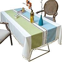 テーブルクロス、長方形のテーブルクロスコットンリネン、タッセルテーブルクロス、キッチンダイニングレストラン用の洗えるテーブルカバー,135x135cm/53.14x53.14in
