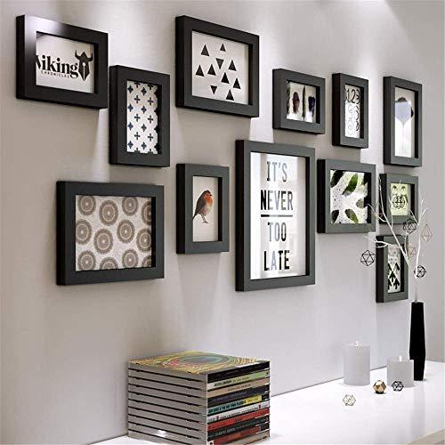 YXZQ Schwarz-Weiß-Fotocollage-Rahmen Fotowand Moderne einfache große Multi-Bilder-Bilderrahmen-Wandset Home-Office-Bilderrahmen-Sets für Wandabdeckungen mit Merkmalen 1,18 m x 0,55 m 12-teiliges Set