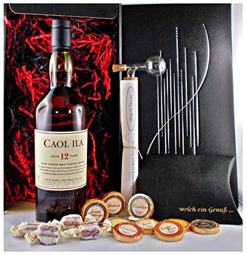 Geschenk Caol Ila 12 Jahre Islay Single Malt Whisky + Glaskugelportionierer + Edelschokoladen + Fudge
