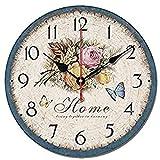 S.W.H Reloj de pared floral Shabby Chic – Reloj de pared retro de madera, silencioso, sala de estar, dormitorio, cocina, decoración del hogar, 30,5 cm