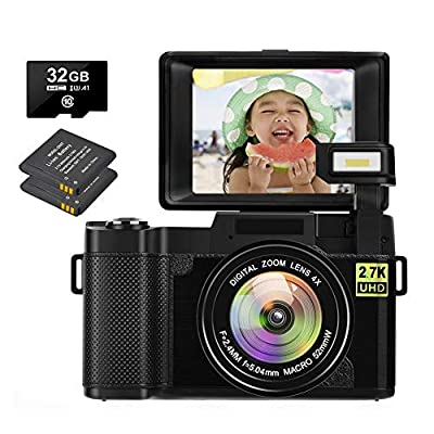 2.7K Camera Digital Camera 30 MP Vlogging Camera Recorder with Retractable Flash Light Vlog Camera for YouTube 3 Inch Flip Screen with a 32GB SD Card &Two Batteries from LINNSE