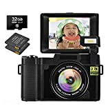 2.7K Camera Digital Camera 30 MP Vlogging Camera Recorder with Retractable Flash Light Vlog Camera for YouTube 3 Inch Flip Screen with a 32GB SD Card &Two Batteries