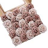 DerBlue 60 Rosas Artificiales de Aspecto Real, Rosas Artificiales de Espuma para decoración de Ramos de Boda, centros de Mesa, arreglos para Fiestas de bebé, decoración del hogar