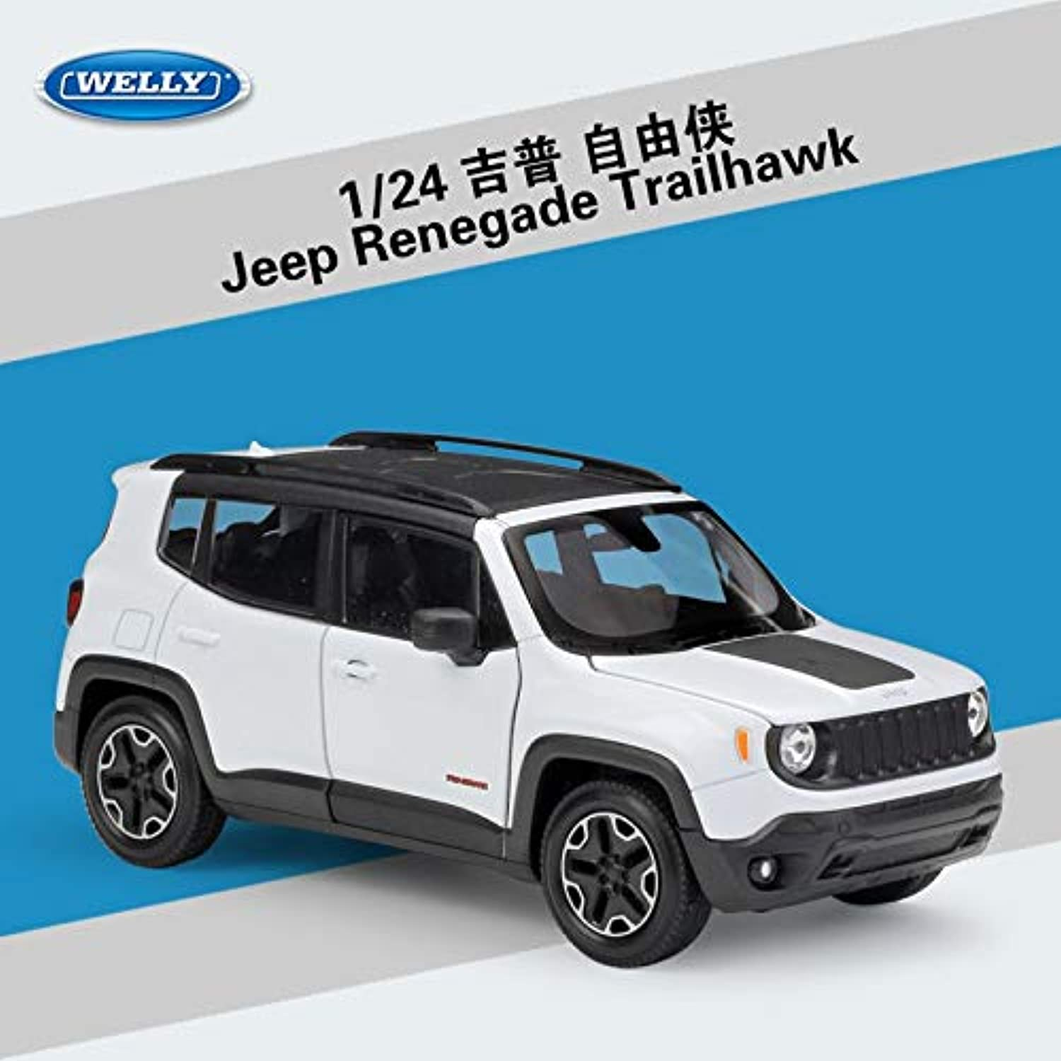 Generic RIAN Day 1 24 Scale SUV Car Model Toys Jeep Renegade Trailhawk Diecast Metal Car Model Toy for Gift Collection Kids White