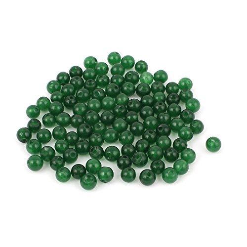 La joyería plástica Strand DIY perlas de imitación de jade pulsera 100 piezas de color verde oscuro