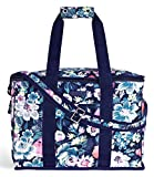 Vera Bradley Leak Resistant Insulated Cooler Bag Large Capacity, Floral Soft Sided Collapsible Cooler, Portable Beach Tote Bag with Handles and Adjustable Shoulder Strap, Garden Grove