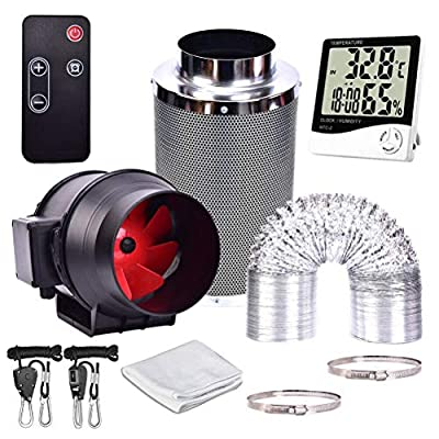 Adasea 4/6/8 Inch Fan with Speed Controller, Carbon Filter Ducting, Temperature Humidity Monitor for Grow Tent Ventilation