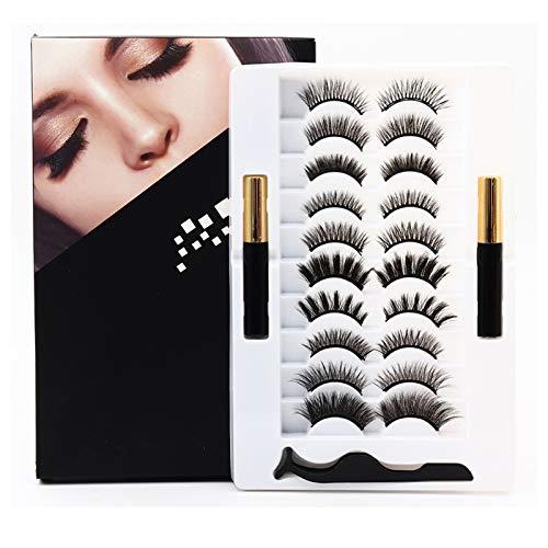 10 Paar wiederverwendbare magnetische Wimpern und 2 Röhren magnetischer Eyeliner Kit 3D 5D Magnetische Wimpern für Frauen Magnetische Wimpern Kit mit Pinzette im Inneren, kein Kleber erforderlich