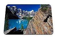 22cmx18cm マウスパッド (モレーン湖カナダ湖処女自然岩ロックブルー) パターンカスタムの マウスパッド