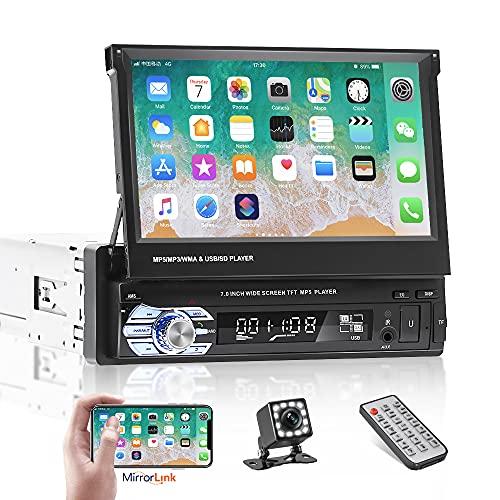 Autoradio Bluetooth Singolo Din per auto da 7 pollici con touchscreen retrattile con supporto per telecamera di backup Collegamento specchio