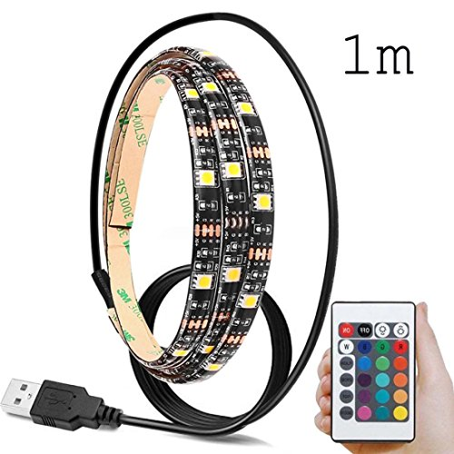 Molyveva 5V 5050 60SMD/M RGB LED Strip Light Bar TV Back Lighting Kit+USB Remote Control on Party Holiday Decoration