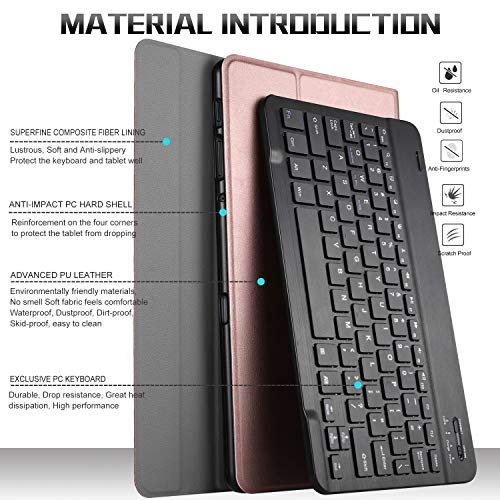 IVSO Keyboard Case for Samsung Galaxy Tab A 10.5, Detachable Wireless Keyboard Stand Case Cover for Samsung Galaxy Tab A…