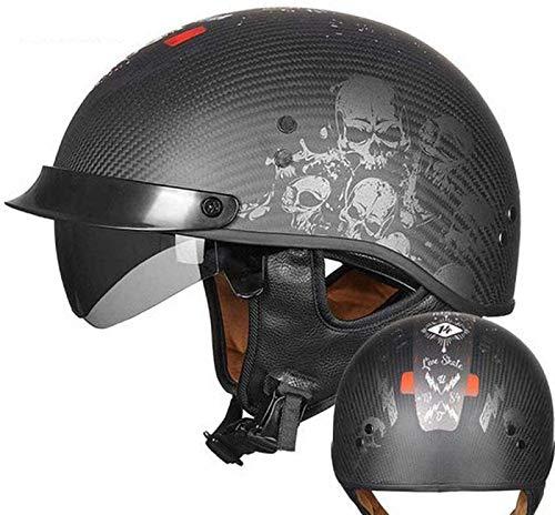 YAUUYA Casco De Motocicleta Casco Jet Retro Harley Motocicleta Medio Casco Certificado Dot/ECE Cruiser Chopper Pilot Scooter Ciclomotor Casco Unisex Casco De Protección para Adultos,C-L=(59~60cm)