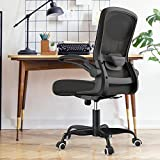 Mimoglad Home Office Chair, Ergonomic Computer Desk Chair with Adjustable Lumbar Support, Swivel Task Chair with flip-up Armrests for Guitar Playing, Conference Room, Hold up to 300 Lbs