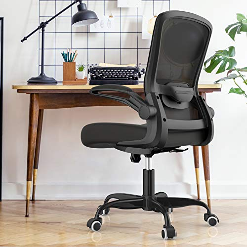 Mimoglad Office Chair, Ergonomic Desk Chair with Adjustable Lumbar Support, High Back Computer Chair Adjustable Height Swivel Task Chair with Rocking Function and Flip-up Armrest