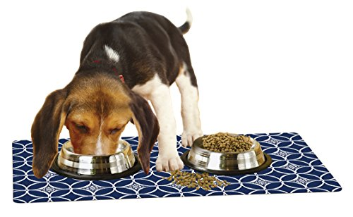 Drymate Pet Placemat, Dog Food Mat or Cat Food Mat - (Made from Recycled Fibers, Machine Washable) 100% Phthalate and BPA Free (12' x 20', Indigo Navy & White)