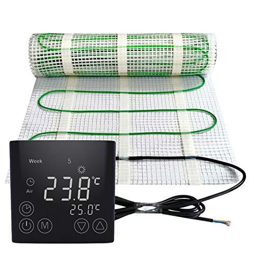 Elektrische Fußbodenheizung 200Watt je m² Thermostat Touch schwarz Elektrisch TWIN Technologie JWS verschiedene Größen, Größe (m²):12 m²