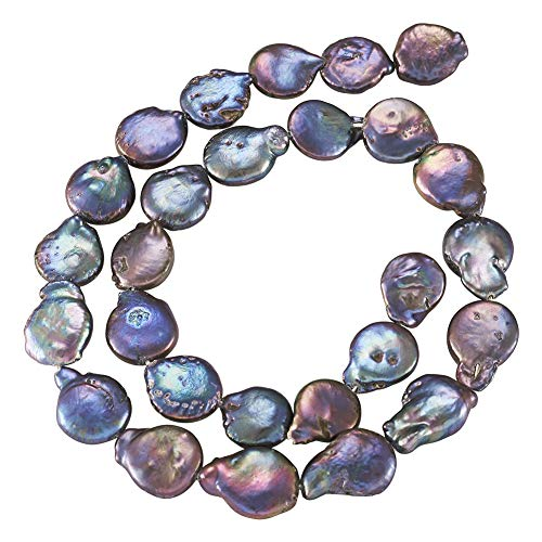 Fashewelry 1 Strand Natural Keshi Pearl Beads Dark Slate Blue Cultured Freshwater Pearl Loose Beads 11~12mm for DIY Necklace Bracelet Earrings Jewellery Making About 30pcs/Strand