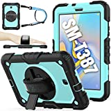 SEYMAC stock Case for SM-T387, 2018 Version of Galaxy Tab A 8.0, (Not fit Other Galaxy Tab A 8.0) - Whiteblue+Black