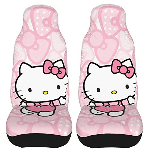Hello Kitty Front Seat Covers 2 Pack, Vehicle Seat Protector Car Mat Covers, Fit Most Bucket Seats