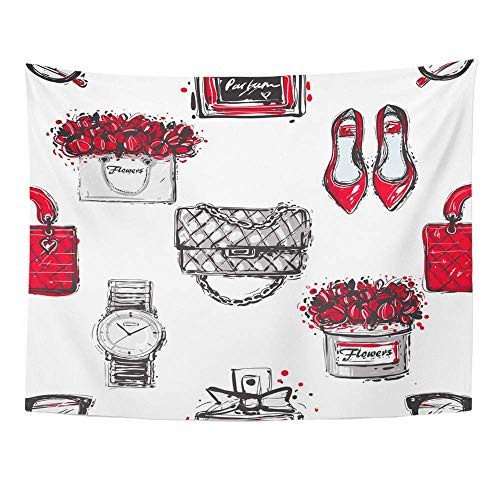 Tapices Decorativos Tapestry Wall Hanging Graphic Sketch Shoes Fashionable Clutch Handbag Wrist Watch French Perfume Flower 60'x 80' Home Decor Art Tapestries for Bedroom Living Room Dorm Apartment