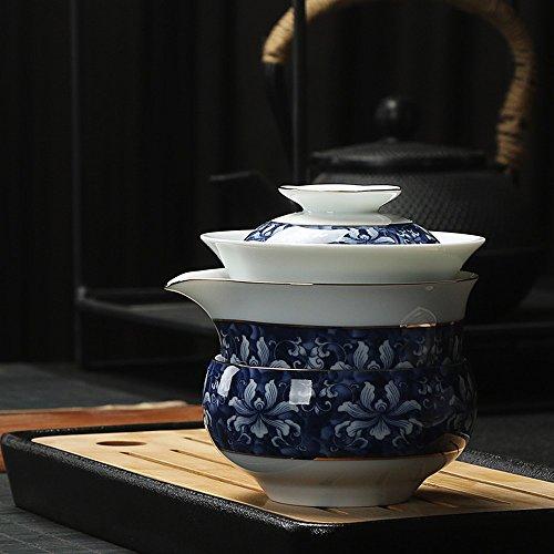 Ensemble de Thé Kungfu en Céramique Maison Créative Ensemble de Thé Tasse en Porcelaine Bleue Et Blanche Ensemble de Thé Bureau Portatif en Porcelaine,UNE