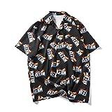 Camisa de Manga Corta Japonesa Retro de Estilo de Hong Kong para Hombre, Camisa Holgada de Verano Coreano de Playa Hawaiana S