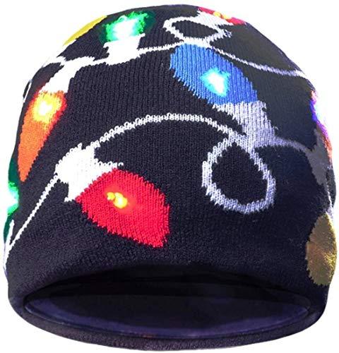 Aomeiqi Cappellino for le feste, Cappello Led lampeggiante cappello sciocco cappello con 3 modalità lampeggiante, Luce up della novità buffo cappello Beanie Cap Hat for i costumi di Halloween, Natale,