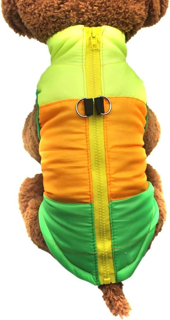 XS, Green Idepet Pet Dog Cat Coat with Leash Anchor Color Patchwork Padded Puppy Vest Teddy Jacket Chihuahua Costumes Pug Clothes XS S M L
