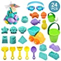 ELEBOOT 24pcs Beach Sand Toy Set Include Bucket, Sandbox Vehicle, Watering Can, Shovel Tool Kits,Sand Castle?Sand Molds, Outdoor Beach Sandbox Toys for Boys, Girls,Toddlers, Kids