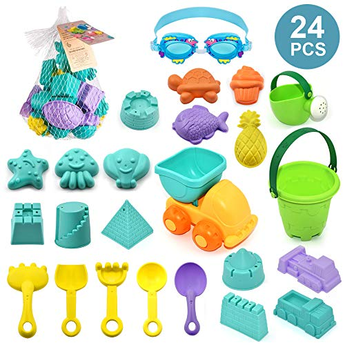 ELEBOOT 24pcs Beach Sand Toy Set Include Bucket, Sandbox Vehicle, Watering Can, Shovel Tool Kits,Sand Castle,Sand Molds, Outdoor Beach Sandbox Toys for Boys, Girls,Toddlers, Kids