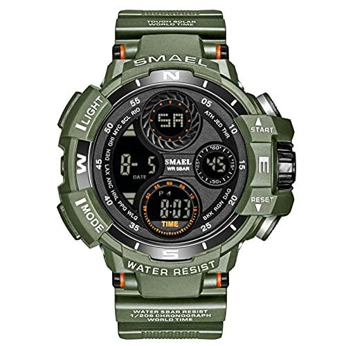 JTTM Reloj Deportivo Hombres Impermeable Digital Led Reloj De Pulsera De Correas De Silicona Relojes del Ejército para Hombre,Army Green