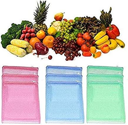 Ketsaal Pack of 6 Multi-Purpose Vegetables Fruits Mesh Fridge Storage Washable Zip Bags- Zip Lock Portable Storage Bag (Color May Vary)