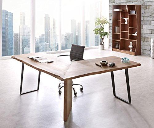 Bürotisch Live-Edge Akazie Braun 170x170 Gestell Schwarz Baumkante Schreibtisch