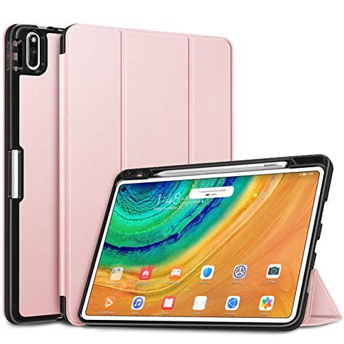 FINTIE Funda Compatible con Huawei MatePad Pro 10.8' con Portalápiz para M-Pen Carcasa Fina Trasera de TPU Suave [Admite Carga Inalámbrica de Pen] Auto-Reposo/Activación, Oro Rosa