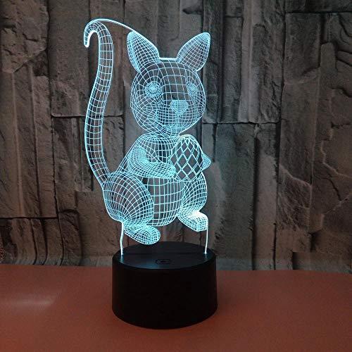 WULDOP Luz 3D Lámpara De Ilusión Led Noche Ardilla dibujos animados lindo Lámpara Nocturna Luz De Noche Luz Quitamiedos Infantil Led Para Habitación Infantil Dormitorio Baño Cuna Pasillo