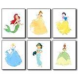 Disney Princess Watercolor Wall Art Poster Prints - Set...