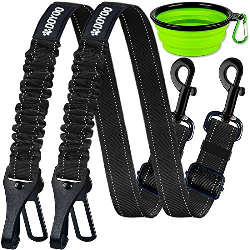 DOYOO Dog Seat Belt,New 2-in-1 Multi-Functional Dog Car Seatbelts 2 Pack Pet Car Seat Belts Adjustable Heavy Duty & Elastic Reflective Vehicle Dog Car...