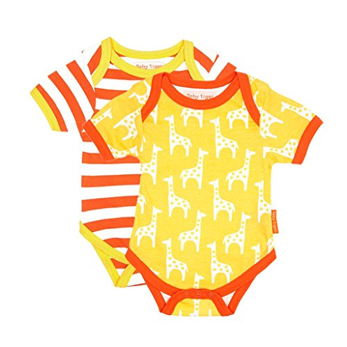 Toby Tiger Giraffe Baby T-Shirt Pack, Body Mixte Bébé, Jaune-Yellow (Yellow/Orange/White), 3-6 Mois (Taille Fabricant:68 cm) (Lot de 2)