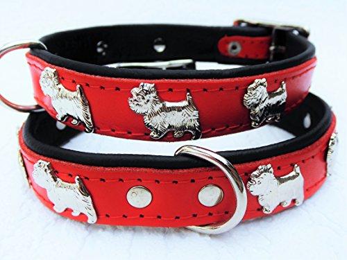 Lusy011 *Westie* Hunde Halsband, Leder, Halsumfang 27-32cm, ROT, NEU(PL.19-9-323)
