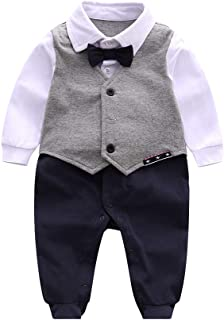 Newborn Baby Boys Gentleman Romper with Tuxedo Bow Tie, Toddler Infant Long Sleeves Jumpsuit Outfit