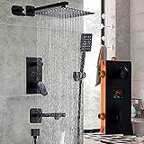Grifos de ducha Ducha Conjunto de ducha Sistema baño grifo de la ducha 3 Funciones Ducha Mate Negro Digital grifos de ducha de lluvia cabeza Conjunto de 3 vías interruptor juego de ducha mezclador gri