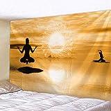 Comvarm India Meditación Exploración Tapiz Impreso Playa Colchoneta de Yoga Alfombra Colgante de Pared Gobelin Sala de Estar Ropa de Cama Decoración del hogar Tela no Tejida 200 * 150 Tapiz Mu